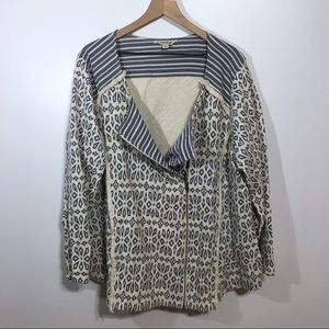 Lucky Brand Blue Patterned Zip Up Jacket, 3X